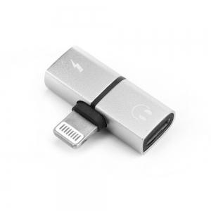 Adaptér SHORT HF/audio + nabíjení iPhone 5, 5S, 6, 6S, 7, 7P, 8, 8P, X barva stříbrná