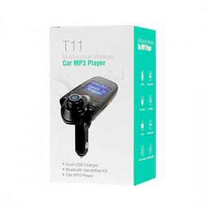 Transmitér FM T-11 MP3 Bluetooth 2xUSB + slot karty micro SD, AUX