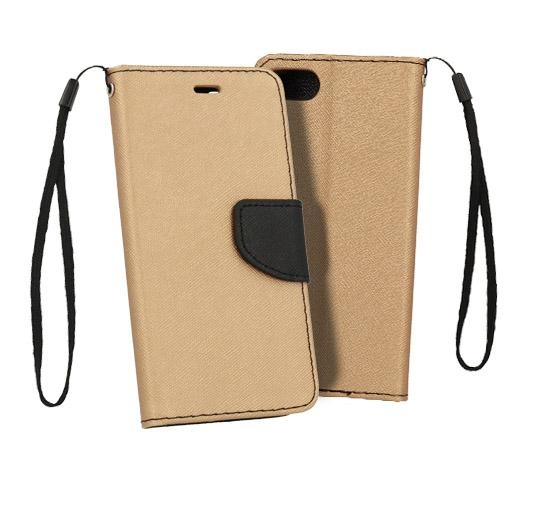 Pouzdro FANCY Diary iPhone X, XS (5,8) barva zlatá/černá
