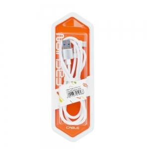 Datový kabel micro USB Typ C 3.0 konektor pravý úhel barva bílá (blistr)