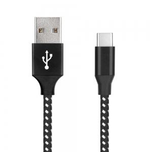 Datový kabel micro USB TYP-C NYLON barva černá