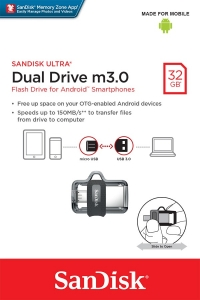 USB Flash Disk (PenDrive) SANDISK ULTRA DUAL DRIVE 32GB USB 3.0 150MB/s - micro USB