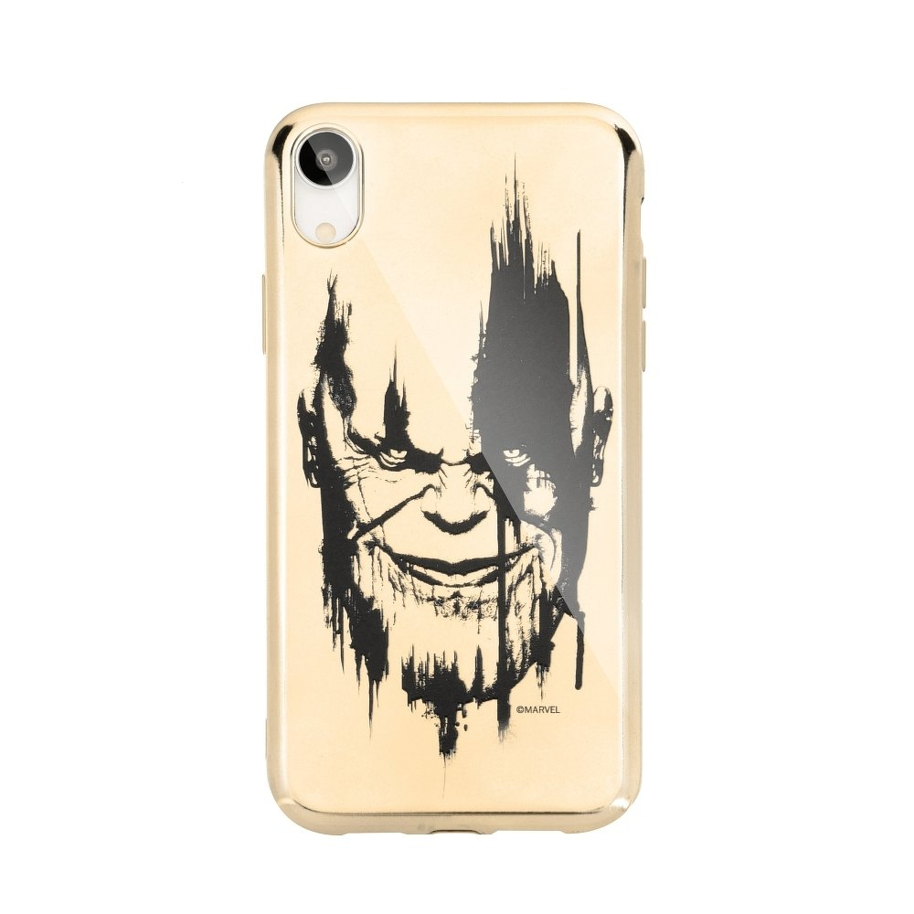 Pouzdro iPhone X, XS (5,8) MARVEL Thanos Luxory Chrome vzor 004 - gold
