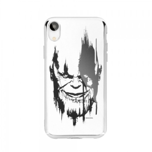 Pouzdro iPhone X, XS (5,8) MARVEL Thanos Luxory Chrome vzor 004 - silver