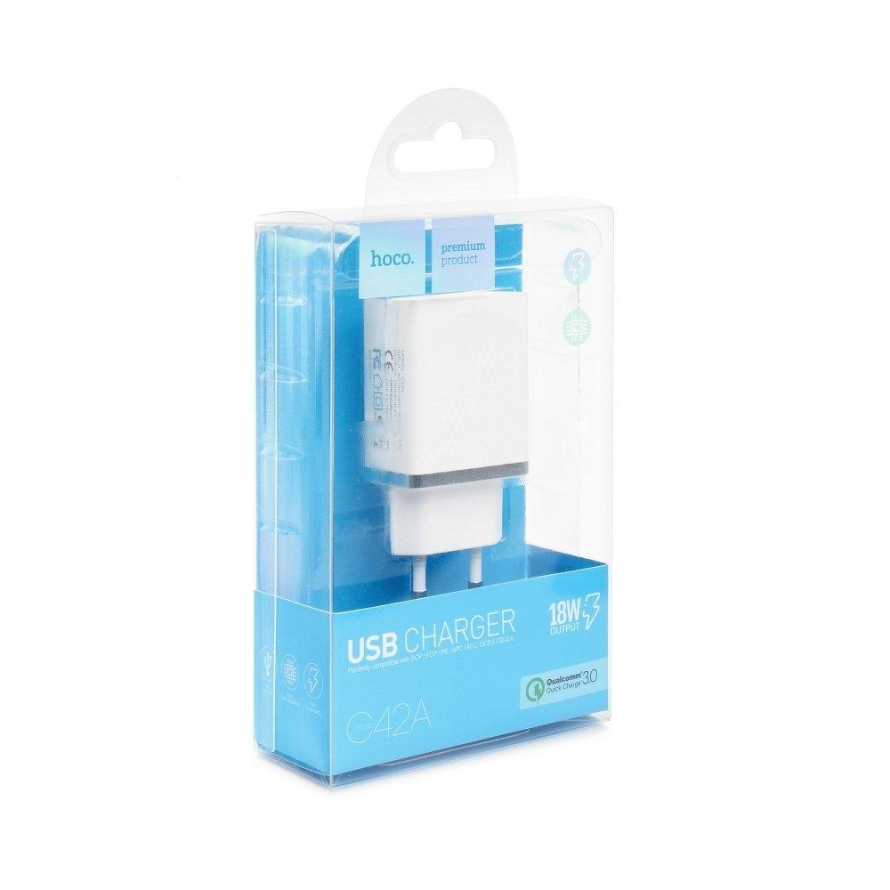 Cestovní nabíječ HOCO C42A 1xUSB Quick Charge 3.0 bílá