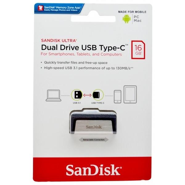 USB Flash Disk (PenDrive) SANDISK ULTRA DUAL DRIVE 16GB USB 3.0 130MB/s - micro USB TYP-C
