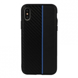Pouzdro Moto Carbon Samsung A750 (A7 2018), barva černá/modrá