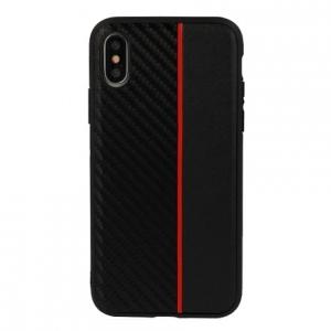 Pouzdro Moto Carbon Samsung J600 (J6 2018), barva černá/červená