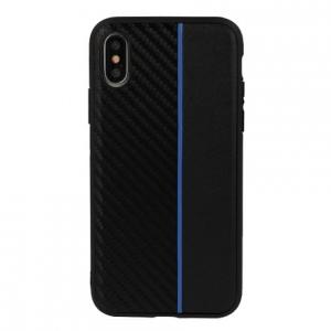Pouzdro Moto Carbon Samsung J600 (J6 2018), barva černá/modrá