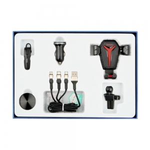 Držák do auta  HOCO ROYAL CAR SET 5in1 - USB nabíječ, Kabely, Bluetooth HF, PopSocket, Držák